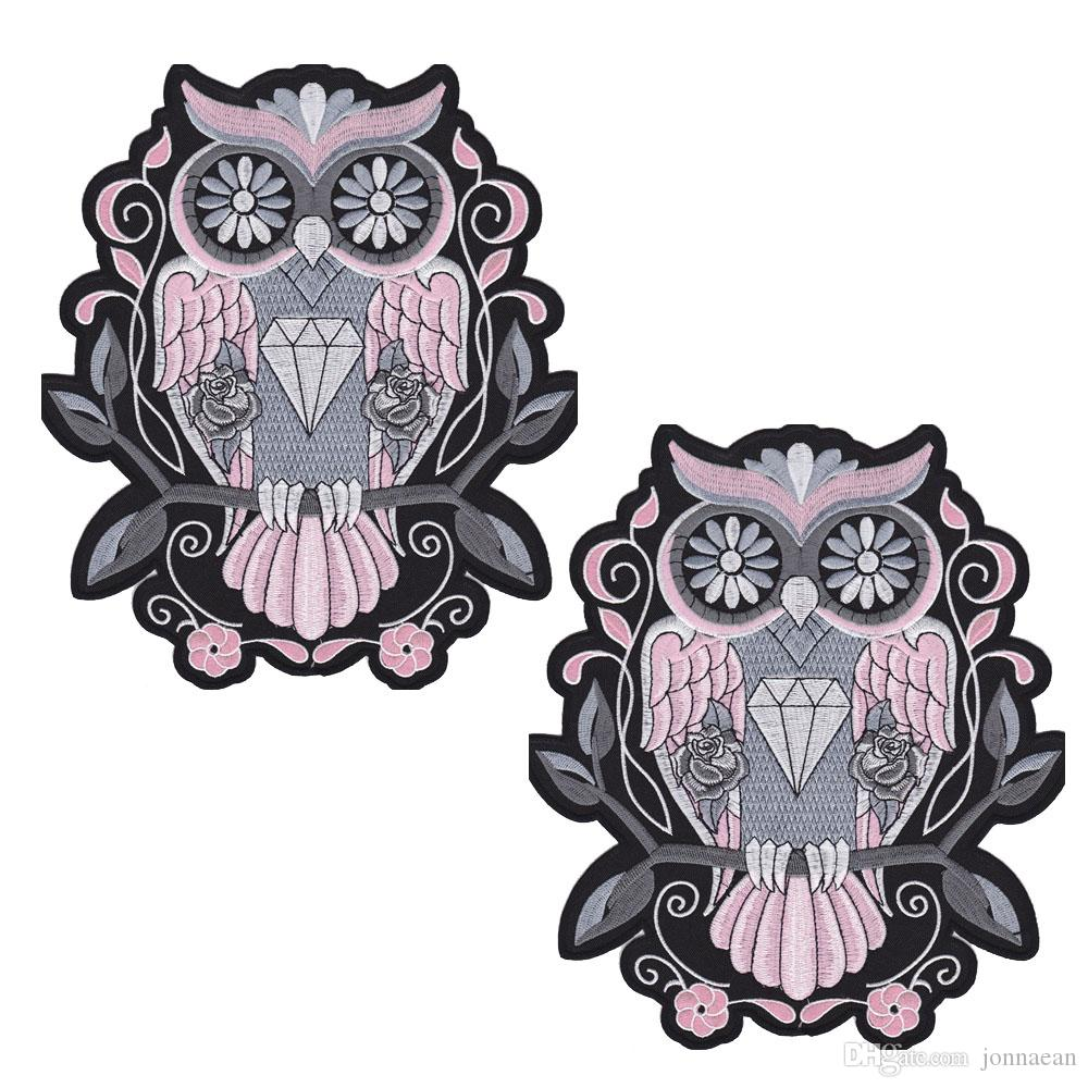 Fashion Night Owl PINK BACK EMBROIDERED Flight Suit PATCH MOTORCYCLE BIKER PATCH IRON ON VEST JACKET Bird of Minerva Badge