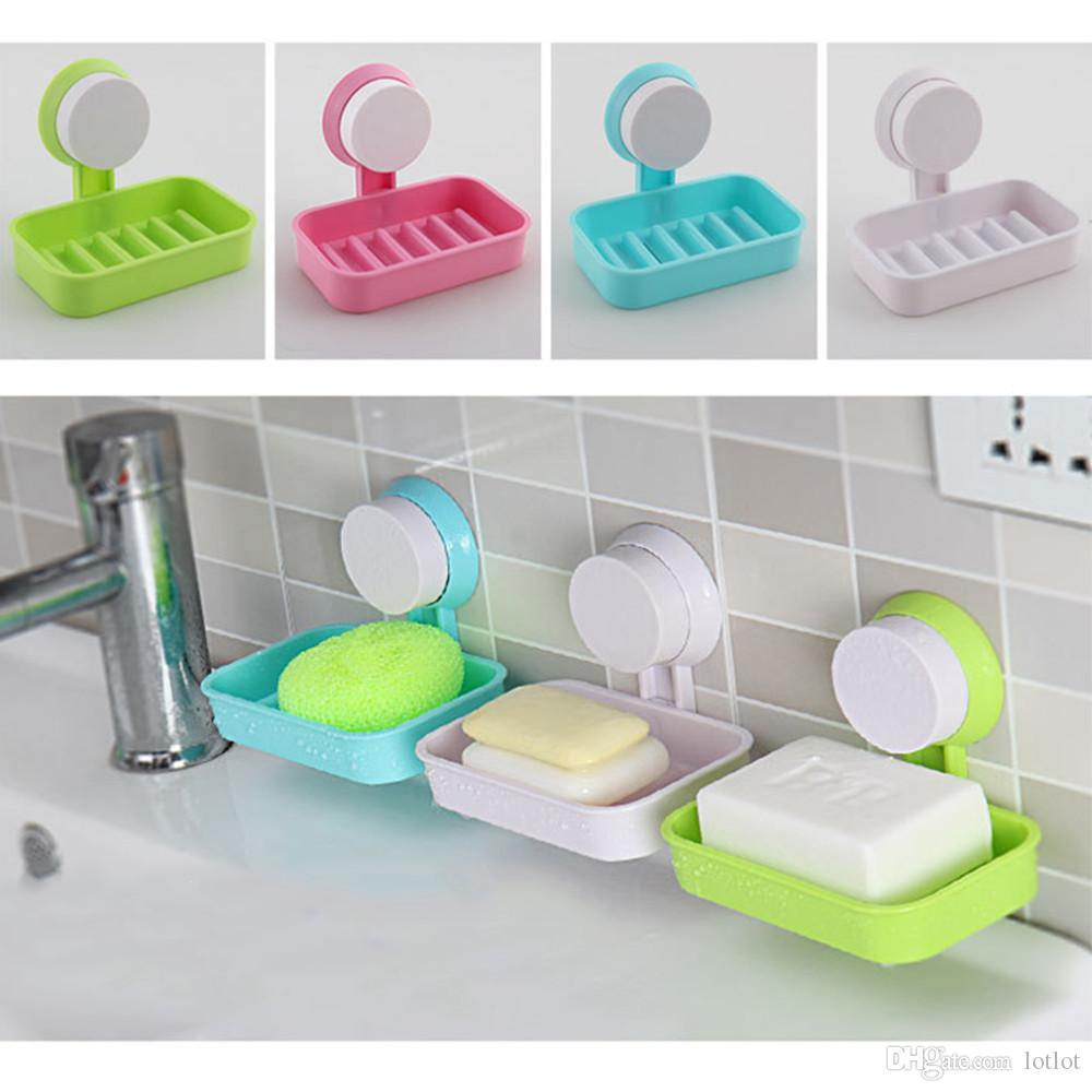 2018 plastic suction cup holder bathroom shower soap dish home hotel travel soap dish tray wall