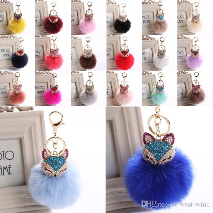 New Fashion Cute Fox Keychain Fur Pom Pom Keychain Car Bag Charm Fur ...