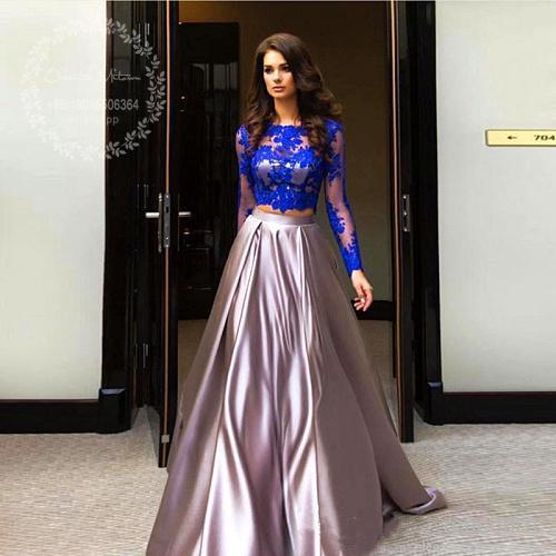 c492da68578 Compre 2018 Royal Blue Lace Top Dos Piezas Vestidos De Baile Mangas Largas  Satinado Brillante Una Línea De Vestido De Noche De Las Mujeres Vestido De  Fiesta ...