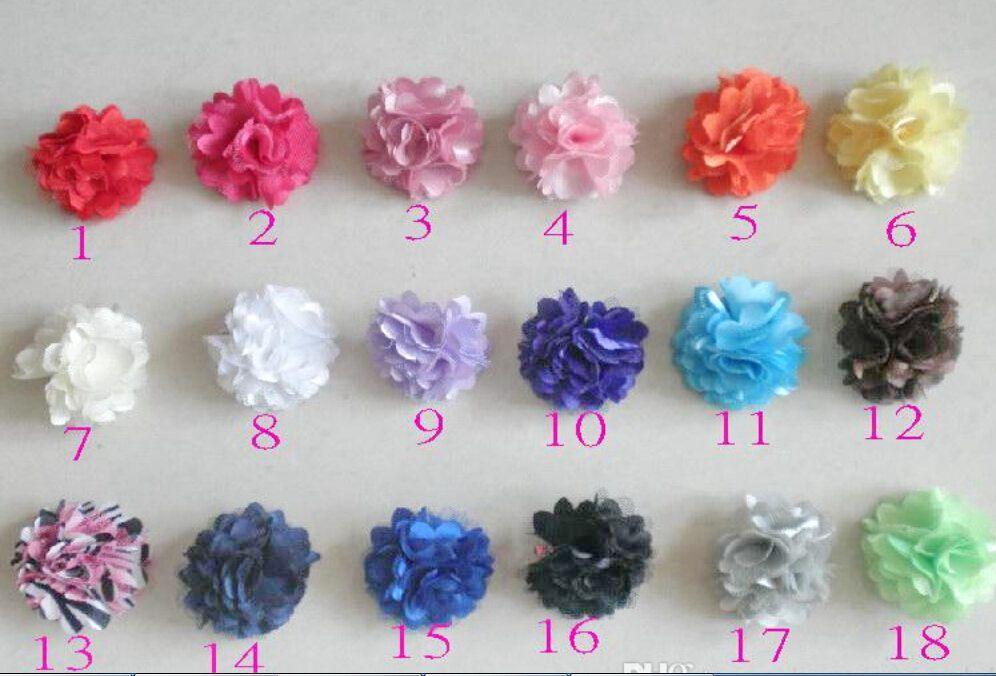 Girl Boutique mini 2 inch silk flowers glued hair band Satin Mesh Hair Flower with Iridescent Skinny shimmer Headbands SG8517