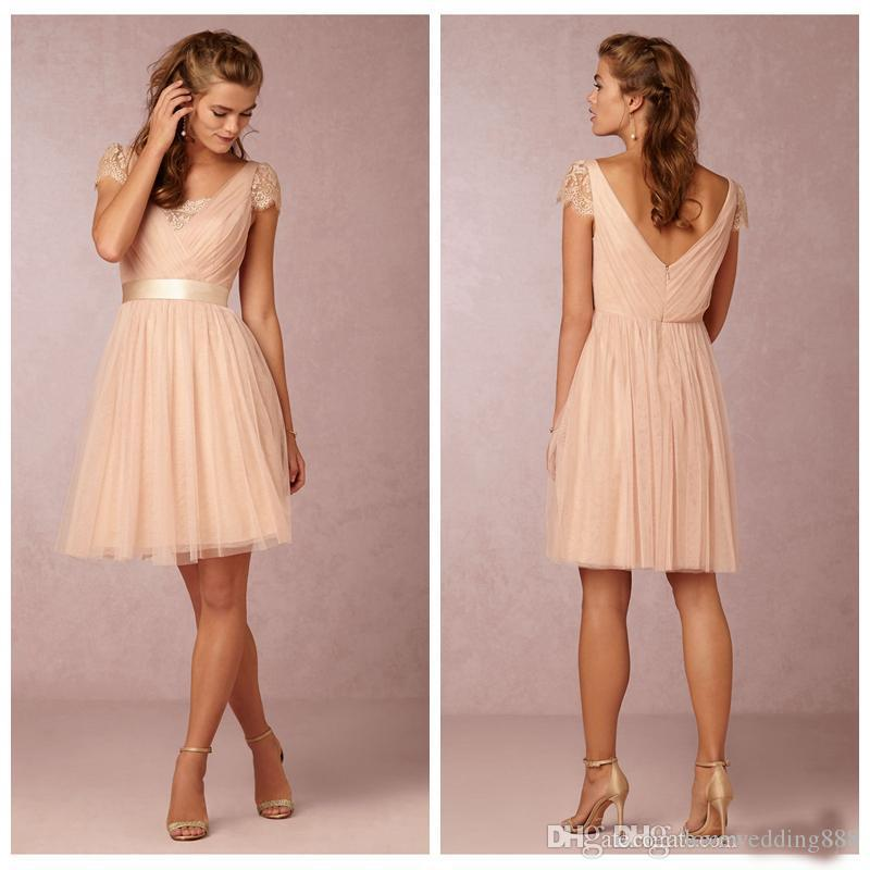 Blush Short Bridesmaid Dresses With Short Sleeves Junoir Formal Party Gowns 2016 Knee Length Maid Of Honor Gown Petite
