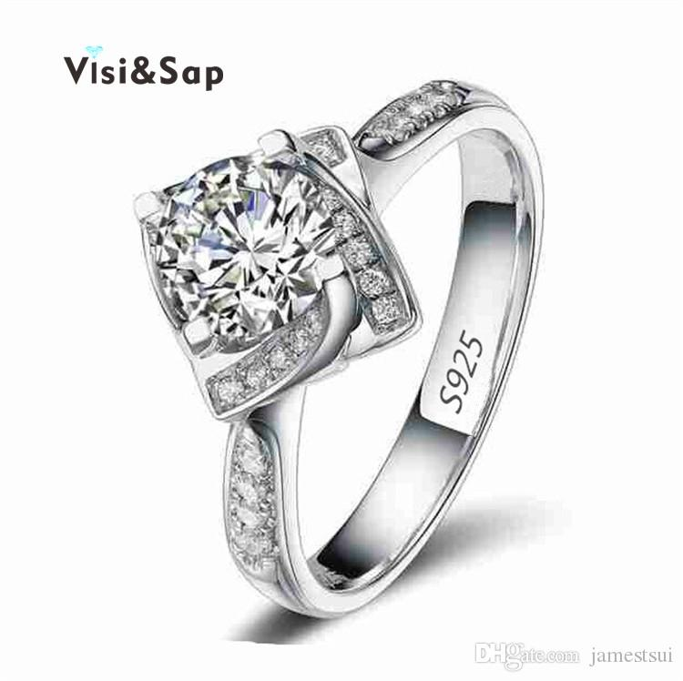 ecf4300a69 Visisap White gold color ring Square Shape Wedding Engagement Rings for  Women cubic zirconia Jewelry Ring Wholesale VSR095
