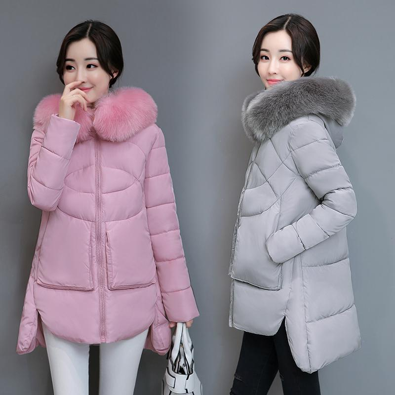 2018 Winter Coat Woman 2017 New Fur Collar Irregular Female Jacket ...