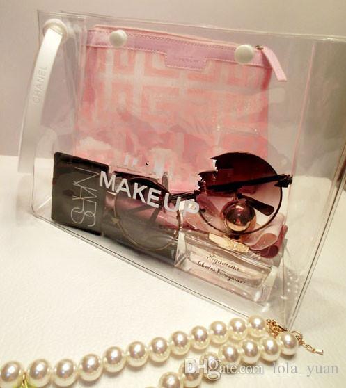 Fashion Women FAMOUS Clear Cosmetic Case Makeup Bag Makeup Tool Storage Case