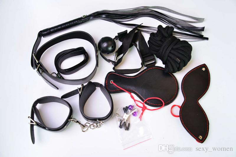 S002 Bondages sex toys Bondage Kit Set BDSM Roleplay Handcuffs Whip Rope Blindfold Ball Gag Black Slave Bondage Kit adult sex toys