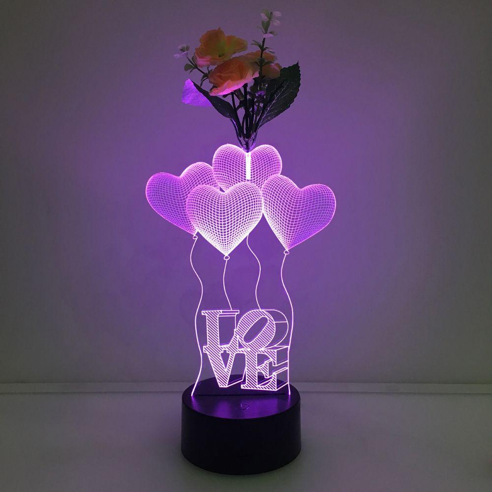 Lampe LED 3D Designs variés avec fleur de décoration DC 5V USB charge 5ème batterie 7 lumières RGB Dropshipping Retail Box