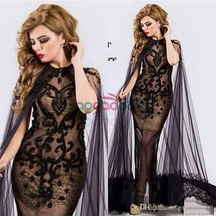 Black See Through Evening Formal Dresses with Cape 2019 Luxury Detail Lace Beaded Middle East Arabic Cocktail Party Prom gowns