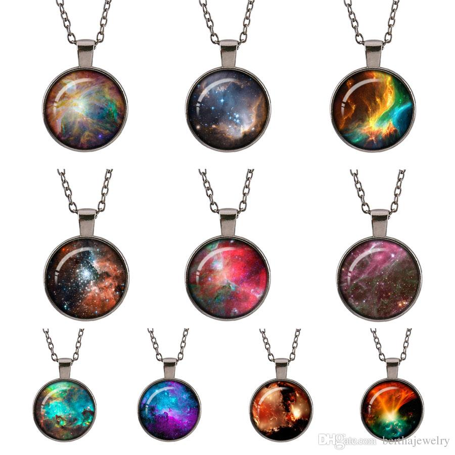 Planet Galaxy Retro Sweater Necklace Glass Cabochon Space Universe