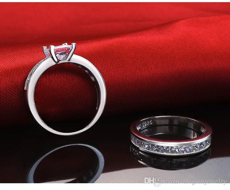 Novo! Venda quente real 925 Sterling Silver Wedding Ring Set por Mulheres acoplamento do casamento Jóias de Prata Atacado N64