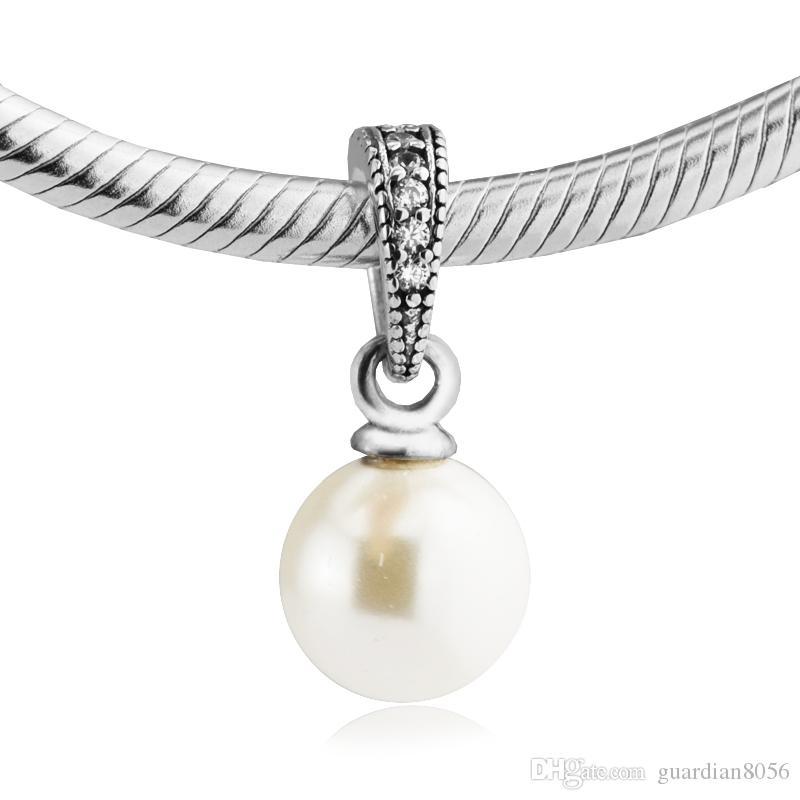 Für Pandora Armbänder Elegante Schönheit Silber Perlen Mit Weiße Perle 2017 100% 925 Sterling Silber Charms DIY Schmuck