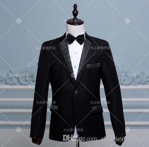 Acheter Paillette Robe Formelle Dernier Manteau Pantalon Conçoit Mariage  Marié Costumes De Mariage Pour Les Hommes Blazer Garçons De Bal Convient À  La Scène ... 59876e17954