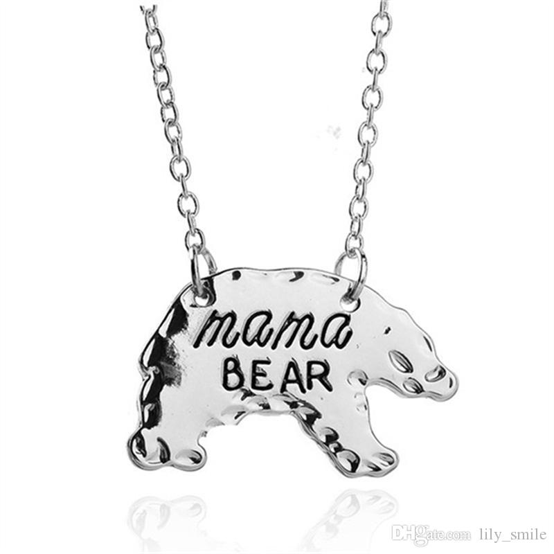 Hot Sale Cute animal necklace jewelry wholesale Bear necklace Mama bear Lettering handmade necklace Warm motherly love Christmas gift