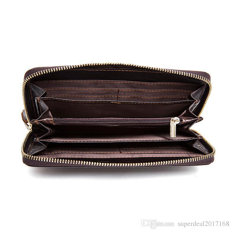 marca di vendita diretta della fabbrica di uomini Portafoglio in pelle Borsa modello classico in pelle goffrata tessuto della borsa della frizione del portafoglio degli uomini d'affari