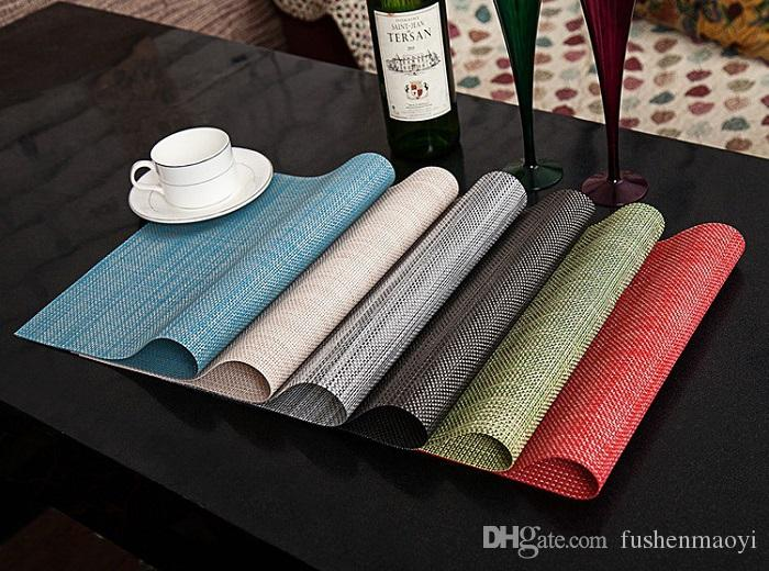 vinyl dining table place mat placemats weave woven effect modern colours dining pads options from fushenmaoyi 287 dhgatecom