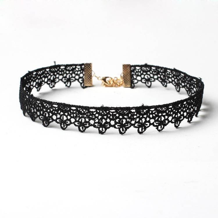 Fomen's Zircon Lace Stretch Elástico Black Velvet Colgante de gargantilla Cadena de clavícula paquete de  para mujeres y niñas