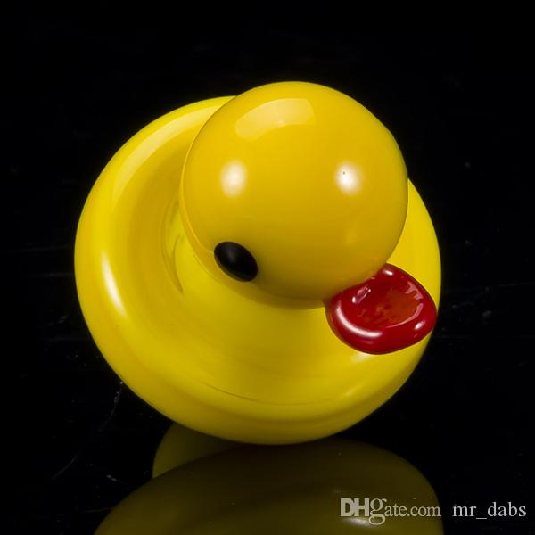 New designed yellow duck carb cap 23mm glass carb cap for Glass Bongs Oil Rigs at mr-dabs