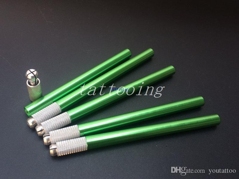 5 Adet Yüksek Kalite Yeşil Yarı Kalıcı Kalem Makyaj Manuel Dövme Kalem 3D Nakış Microblading Için