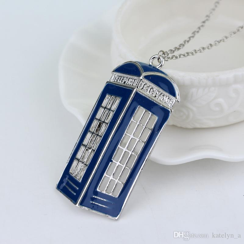 New Fashion doctor who necklace tardis police box vintage Necklace Metal Pendant Necklace