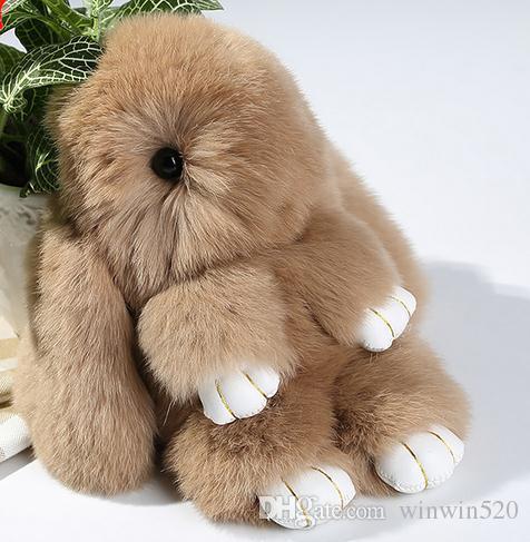 100% real de coelho genuíno peles chaveiros chaveiro saco de chaveiros encantos de carro pingente linda bolsa dos desenhos animados