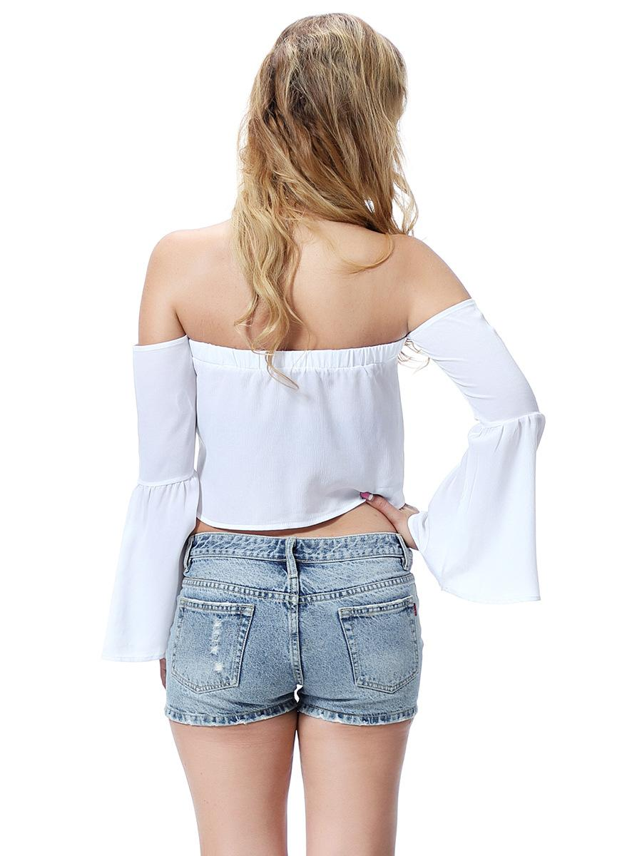 solid pure color women's Strapless collar ribbon ladies T-shirt girls fashion tank top Europe and the United States lady shirt