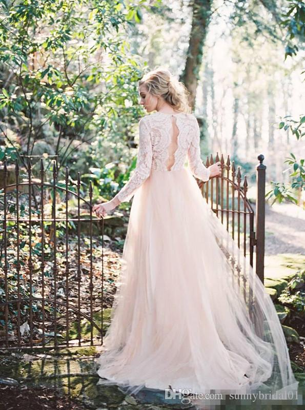Sexy Backless Lace Bohemian 2017 Wedding Dresses Deep V-neck Long Sleeves A-line Tulle Bridal Dresses Pink Lace Vintage Cheap Bridal Gowns