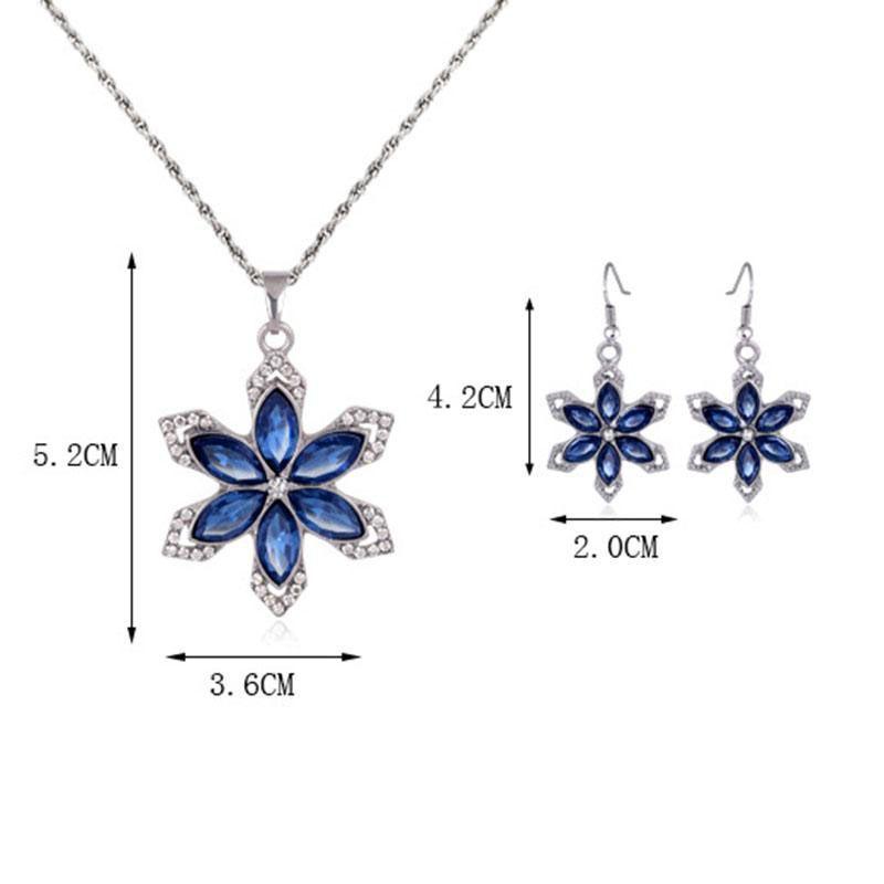 Роскошный серебряный цвет синий Кристалл цветок ювелирные наборы для женщин свадебное ожерелье и серьги с красочными кубический Циркон
