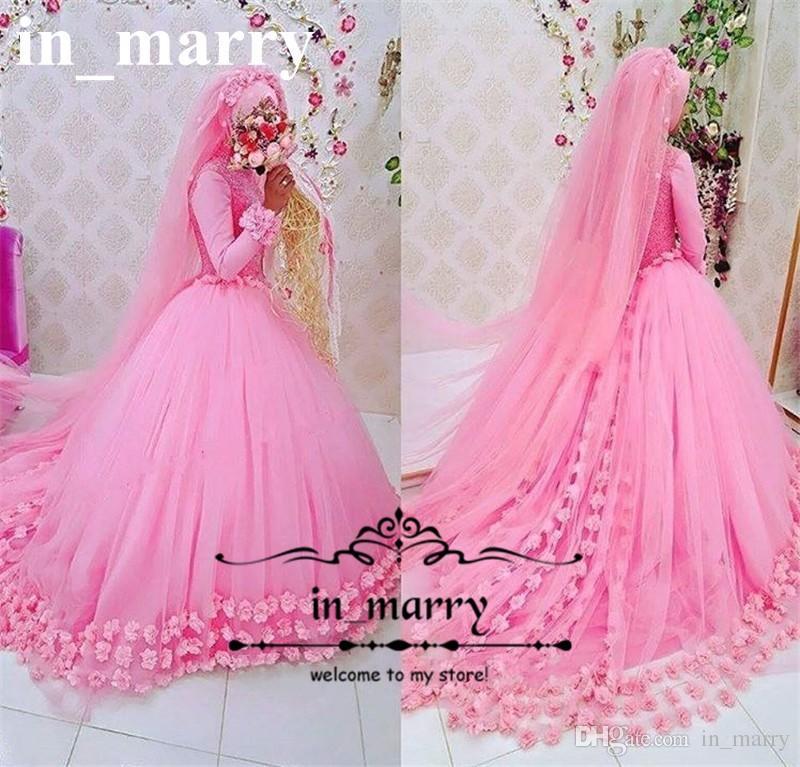 Compre Los Vestidos De Boda Islámicos Rosados de Lujo De Hijab ...