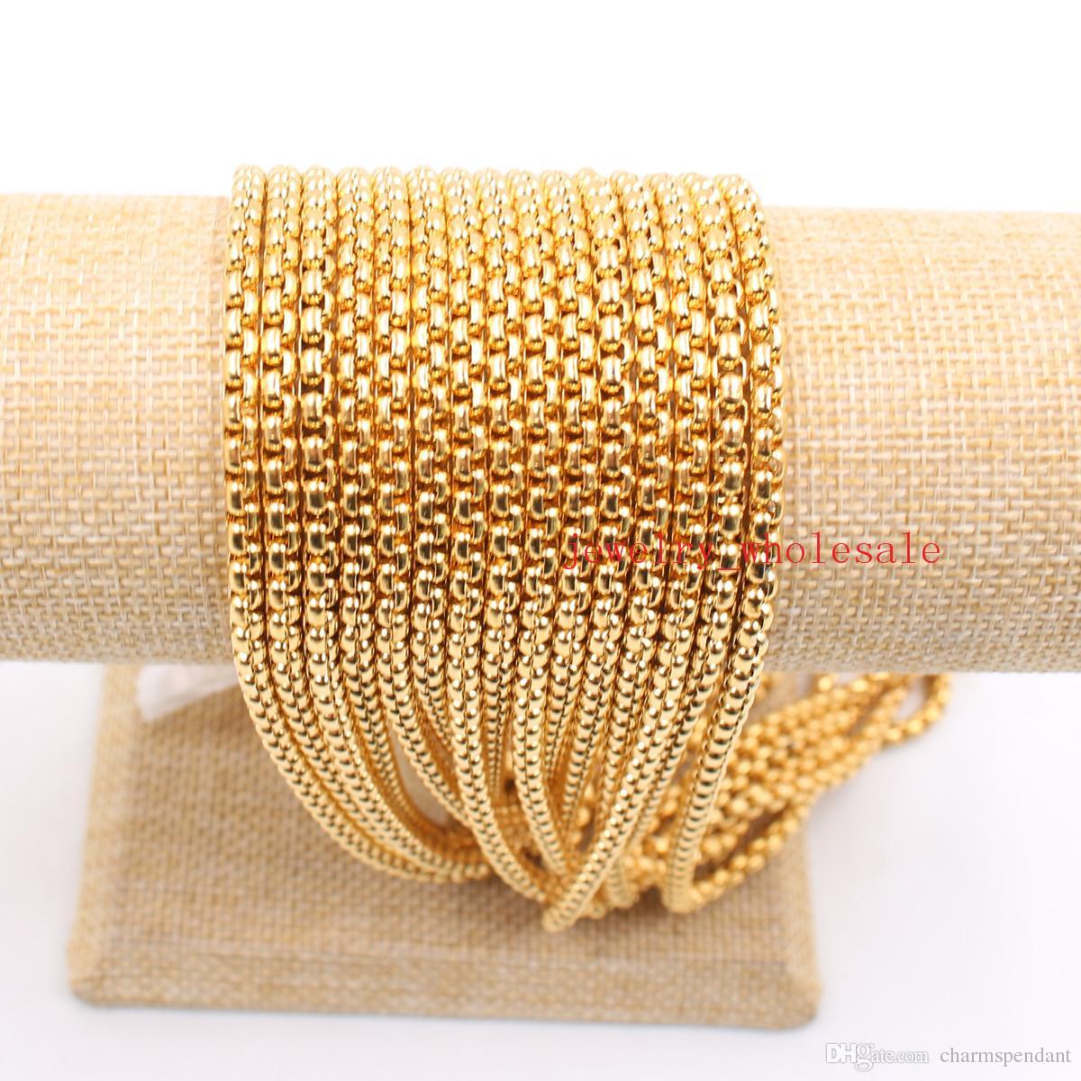 Toplu 3 metre / grup Takı Bulma Zincir Altın Paslanmaz Çelik 3mm / 4mm / Moda Yüksek Kalite kare Kutu Zincir Markalama DIY