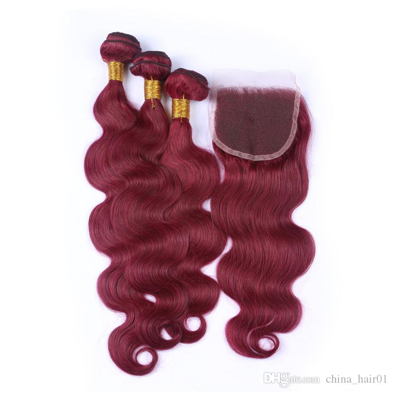 Brazilian Burgundy Red Human Hair Weaves With Lace Closure Body Wave #99J Wine Red Virgin Hair 3Bundles With 4x4 Front Lace Closure