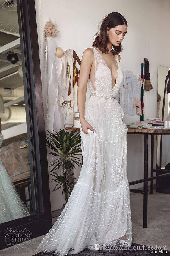 Lihi Hod Dos Nu Dentelle 2019 Robes De Mariée À La Plage Mancherons Cristaux Perles Robes De Mariée Sexy Tulle Boho Robes De Mariée