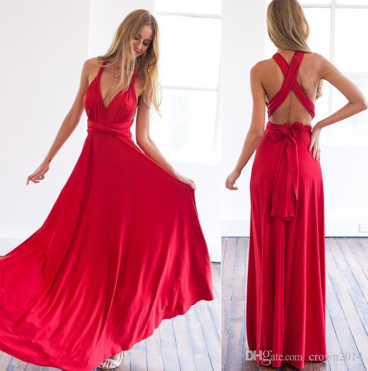 a921a7bc5c 2017 Red Chiffon V Neck Prom Dresses Beach Open Back Spaghetti Straps Long  Women Formal Maxi Evening Gowns Holiday Floor Length Cheap Hippie Prom  Dresses ...