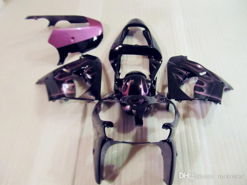 Aftermarket Körperteile Verkleidung Kit für Kawasaki Ninja ZX9R 2002 2003 rosa Flammen schwarz fairings gesetzt ZX9R 02 03 OT13
