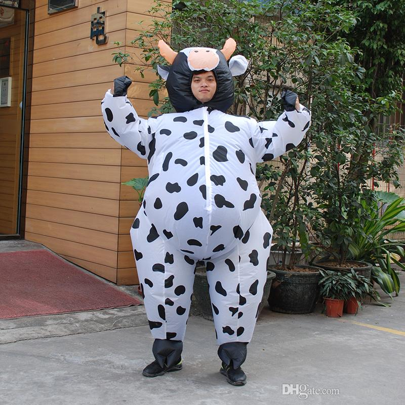christmas halloween mascots and costumes inflatable cow costume for men women adult unisex fancy dress air suit milk cattle carnival party group themed - Halloween Costume Cow