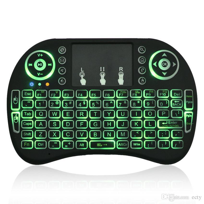 I8 mini teclado 2.4 GHz Rii Sem Fio bluetooth Teclados jogo Pad Fly Air Mouse Multi-Mídia Remoter Controle Touchpad para caixa de tv