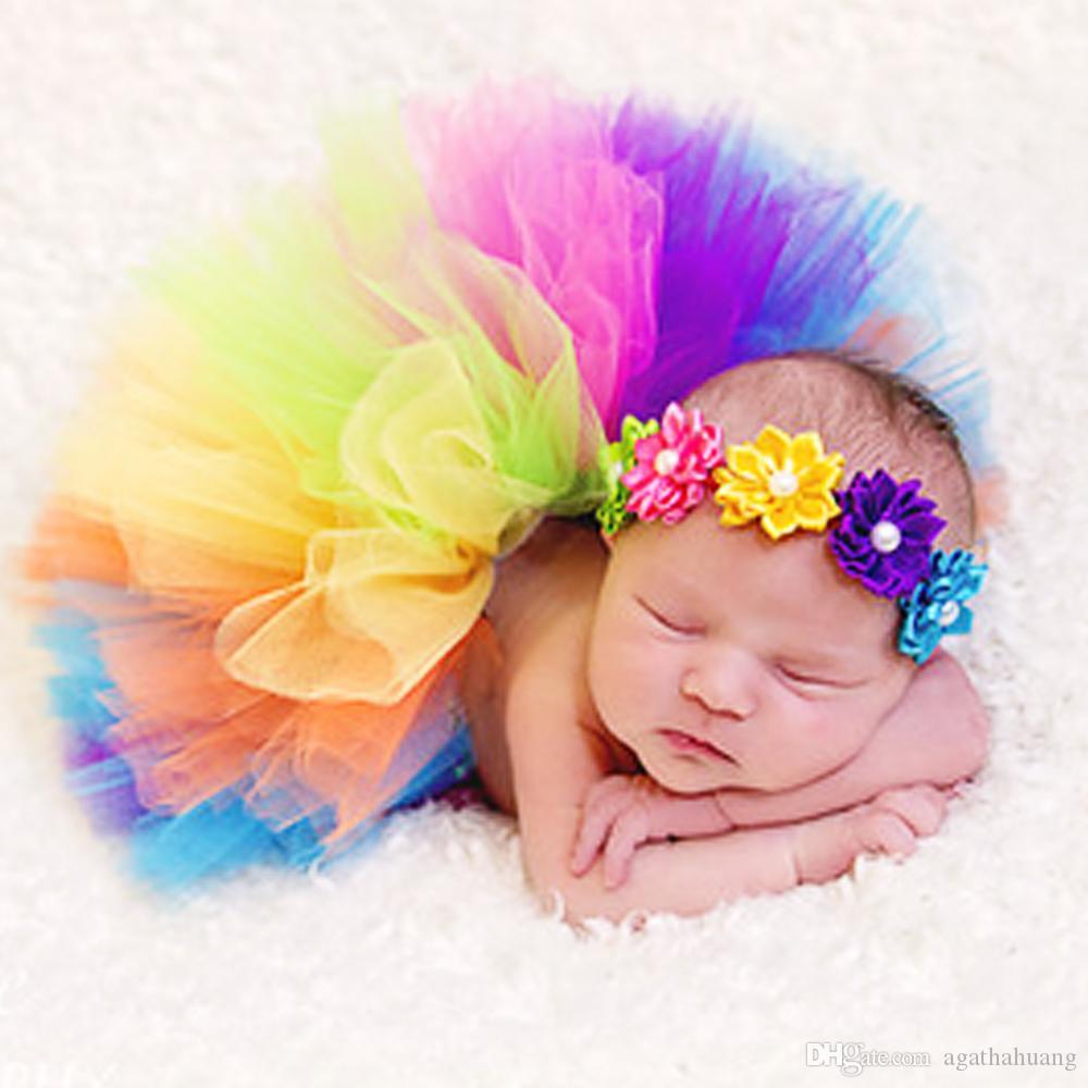 Beautiful baby hair accessories - Baby Girl Handmade Ribbon Flower Headbands Children Elastic Hair Band Rainbow Hair Jewelry Photography Props Tutu Dress Hair Accessory