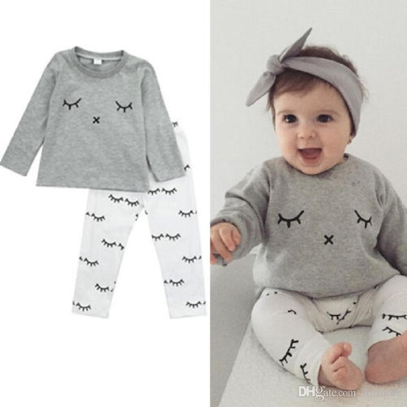 Toddler Clothing Set Newborn Baby Boys Girl Boutique Clothes Suit Grey Sport Tracksuit Legging Warmer White Pant Long Sleeve Outfit Playsuit