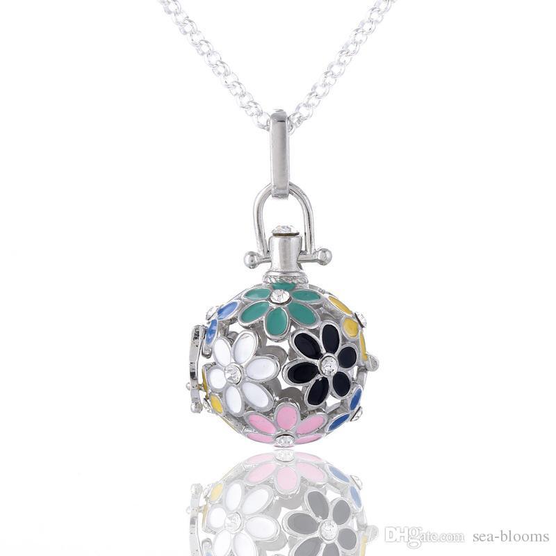 Collana Angelo Angelo con medaglione a forma di cuore Collana in ottone con 5 pendenti in metallo Collana con campana in acciaio inossidabile Palla di ricarica B381Q
