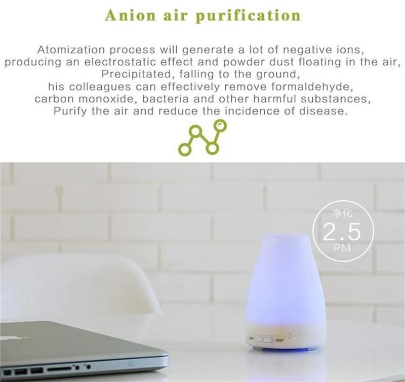 100ml Diffuseur d'huiles essentielles Aroma humidificateur portatif Diffuseur LED Veilleuse Ultrasonique Brume fraîche Air frais Spa Aromatherap