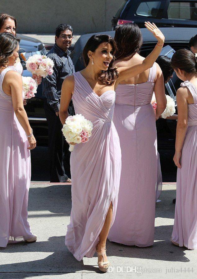 라벤더 라일락 컨트리 가든 들러리 들러리 드레스 프론트 스플릿 원 숄더 프릴 민소매 저녁 공식적인 웨딩 게스트 착용 파티 드레스