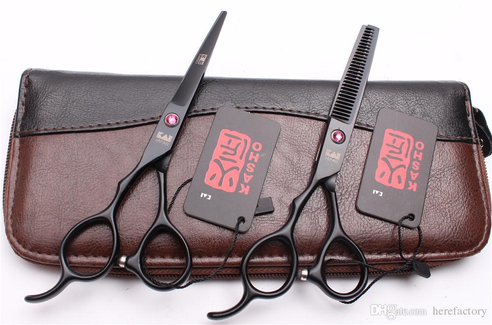 "H8001 6"" 17.5cm JP 440C Kasho Professional Human Hair Scissors Barbers' Scissors Cutting Thinning Shears Left Hand Scissors Style Tools"