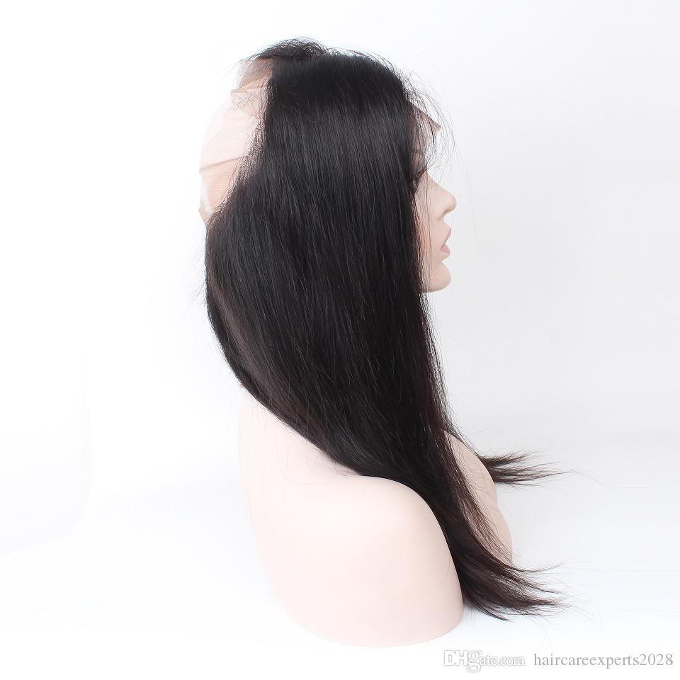 360 Lace Frontal Closure Brazilian Virgin Hair Natural Hairline Lace Band Frontal Closure With Baby Hair