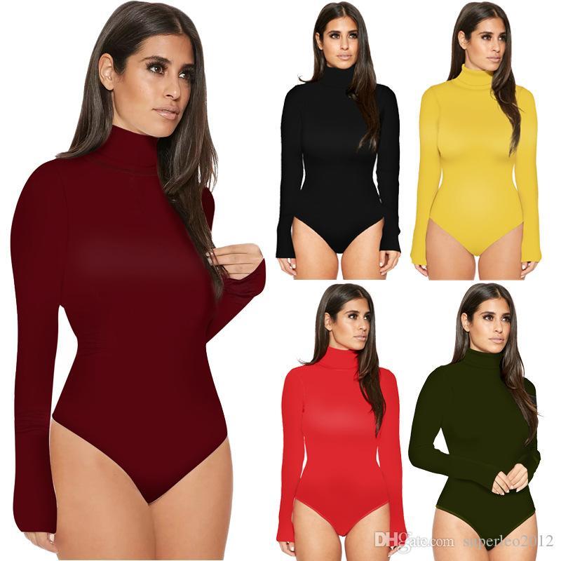Kadın Bahar Seksi Uzun Kollu Kısa Tulumlar Katı O Boyun Tulum Rahat Kısa Bodycon 11 Renkler YD3501 Tops