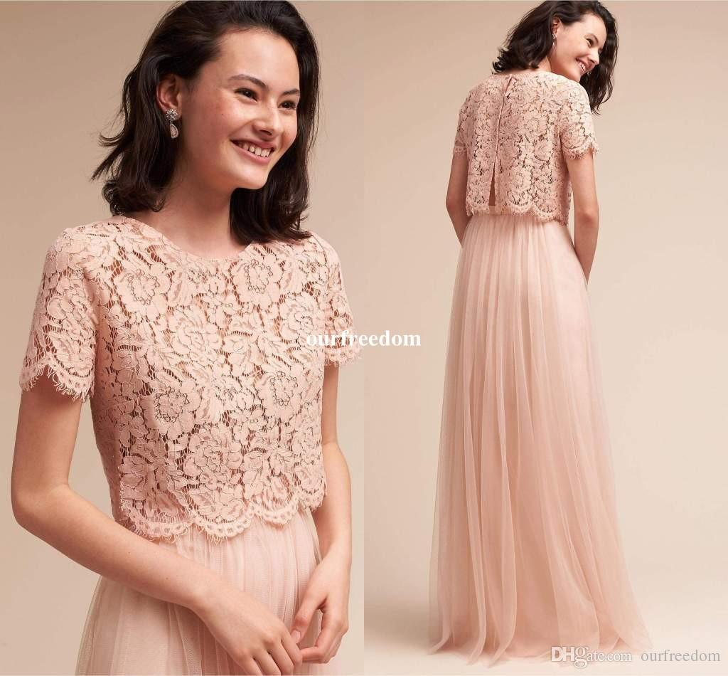 Blush pink crop top two piece bridesmaid dresses 2017 lace short blush pink crop top two piece bridesmaid dresses 2017 lace short sleeve tulle floor length maid of honor formal evening party gowns custom bridesmaid dress ombrellifo Images