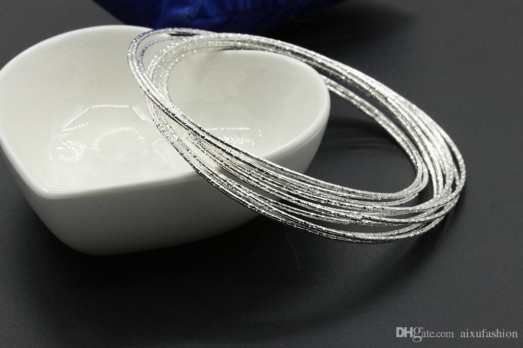Sweetheart Silver Plated Bracelets Mujeres Joyería de la muchacha Anillo Exterior Matte Nueve Cadena Pulsera Fina Non Mainstream Style Bangle Nueva Llegada