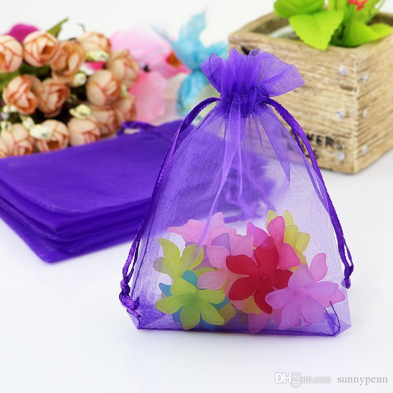 / 7X9cm scuro viola colori sacchetti di imballaggio dei monili borse di organza disegnati sacchetti regalo di nozze bustina organza