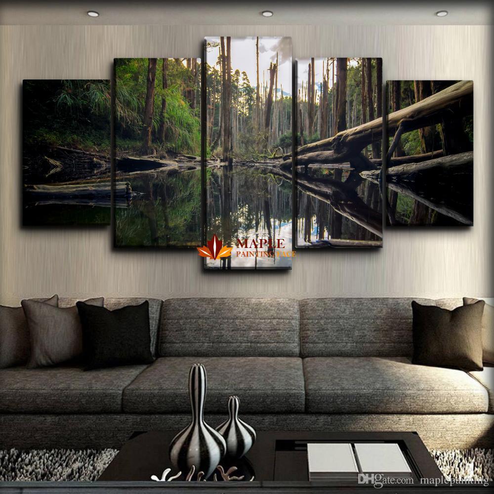 Gran Lienzo Arte de la pared 5 Piezas Impresión Digital Sobre Lienzo Pintura de Paisaje Para la Sala de estar Imagen Decoración de Pared Arte