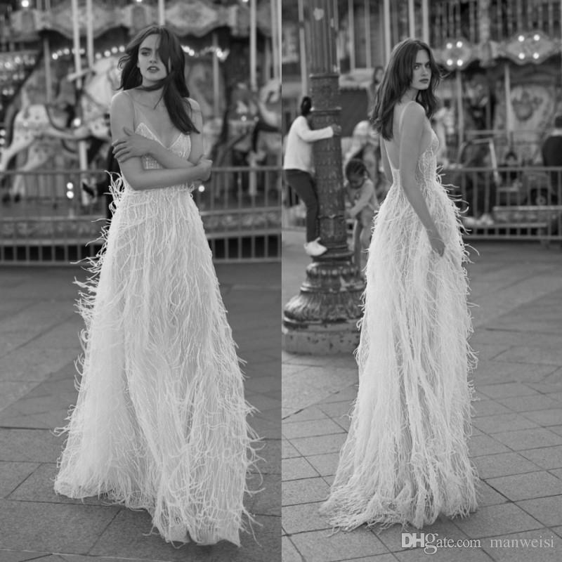 Liz Martinez 2019 Wedding Dresses: Discount Liz Martinez 2018 Feather Wedding Dresses Sexy V