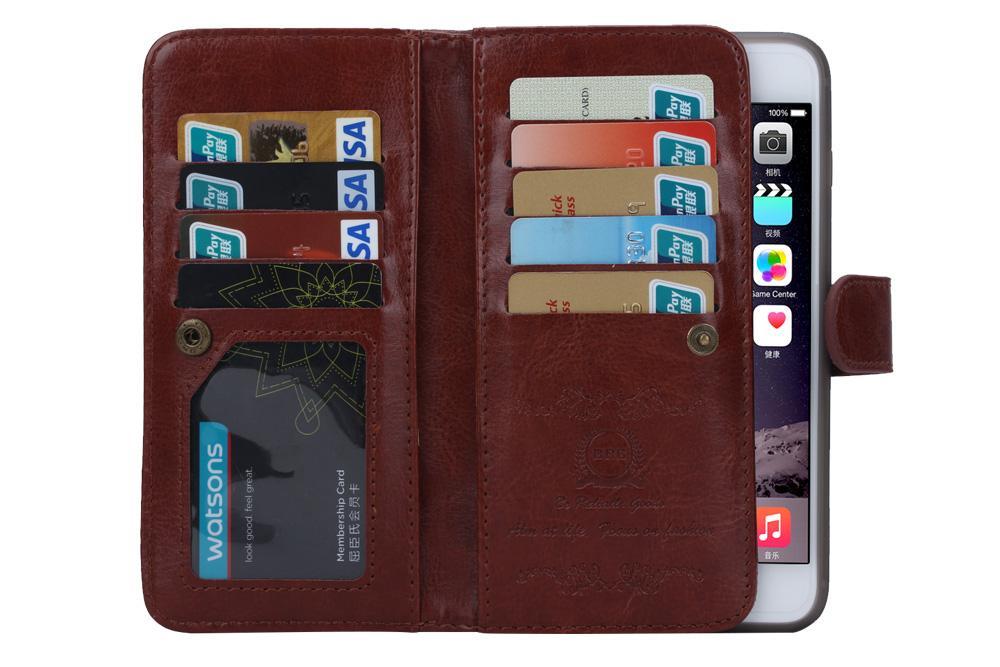 2in1 détachable magnétique carte 9 étui en cuir portefeuille pour iphone 6 plus iphone 7 ainsi que le bord s6 du Galaxy s7 bord plus note 4 note 5 /
