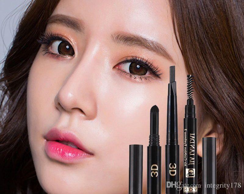 wasserdicht JIA Landai 3D Augenbrauenstift LIZI Mädchen Triade Kissen Augenbrauenstift einzeln mit 5 Farben / Los DHL gewickelt